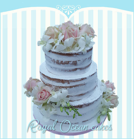 naked bruidstaart rozen
